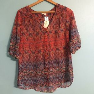 Tops - NWT Sheer Button Up Blouse